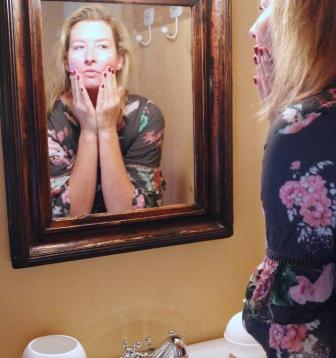 Apply Face Cream In Mirror | Verissima Natural Skin Care