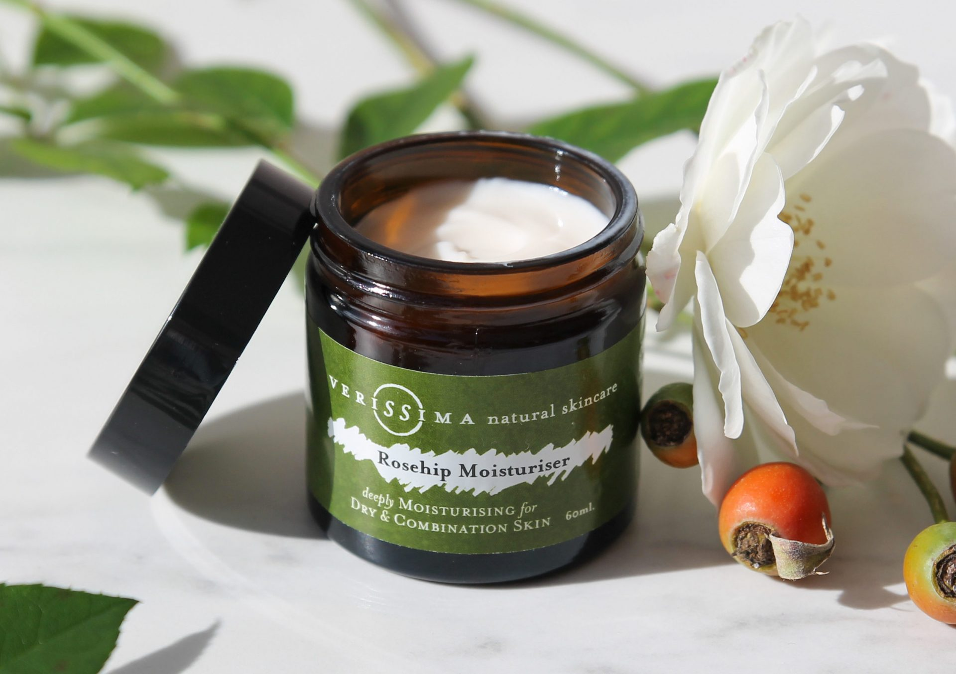 Rosehip Moisturiser Open | Verissima Natural Skin Care